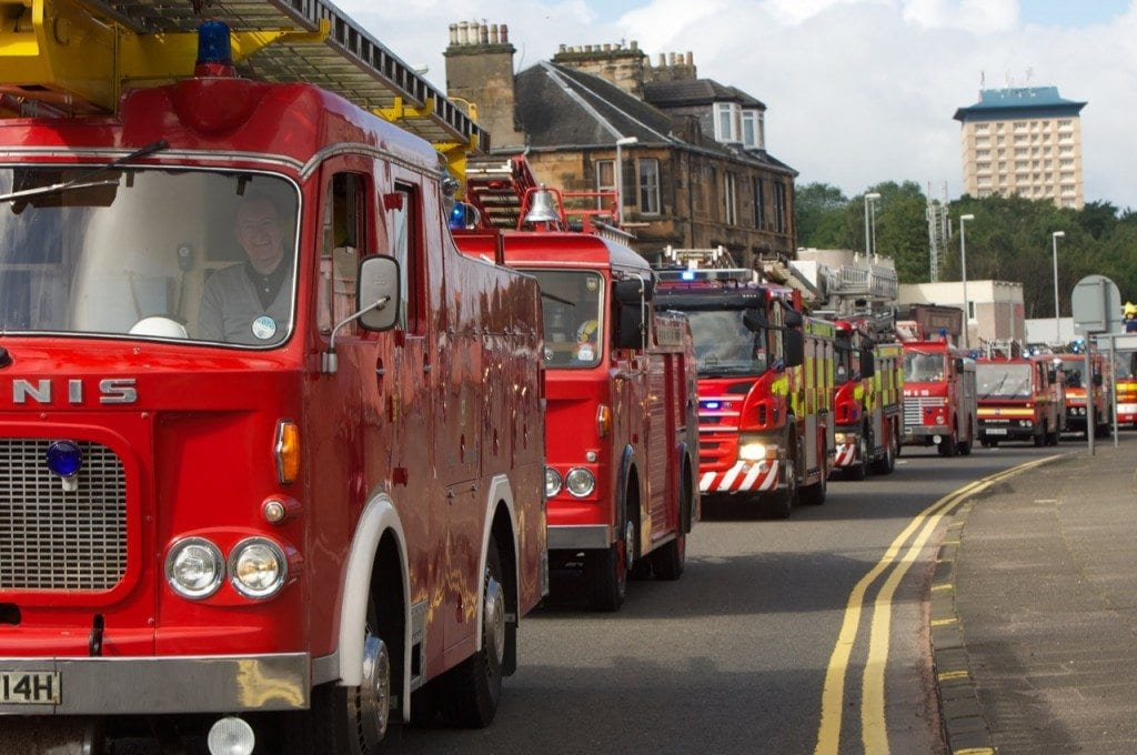 The fleet of vintage fire engines at the 2011 Paisley Fire Engine Rally