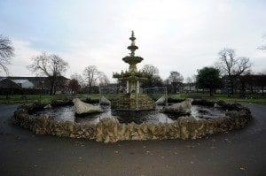 Detail on Grand Fountain, fountain gardens, paisley