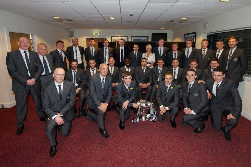 St Mirren civic reception whole squad with Provost and Leader