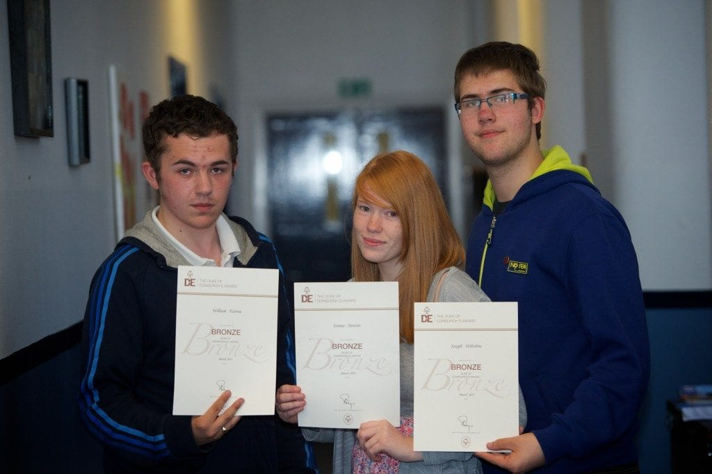 Billy Fairnie, Emma Hewitt and Joseph Wiltshire with their award certificates