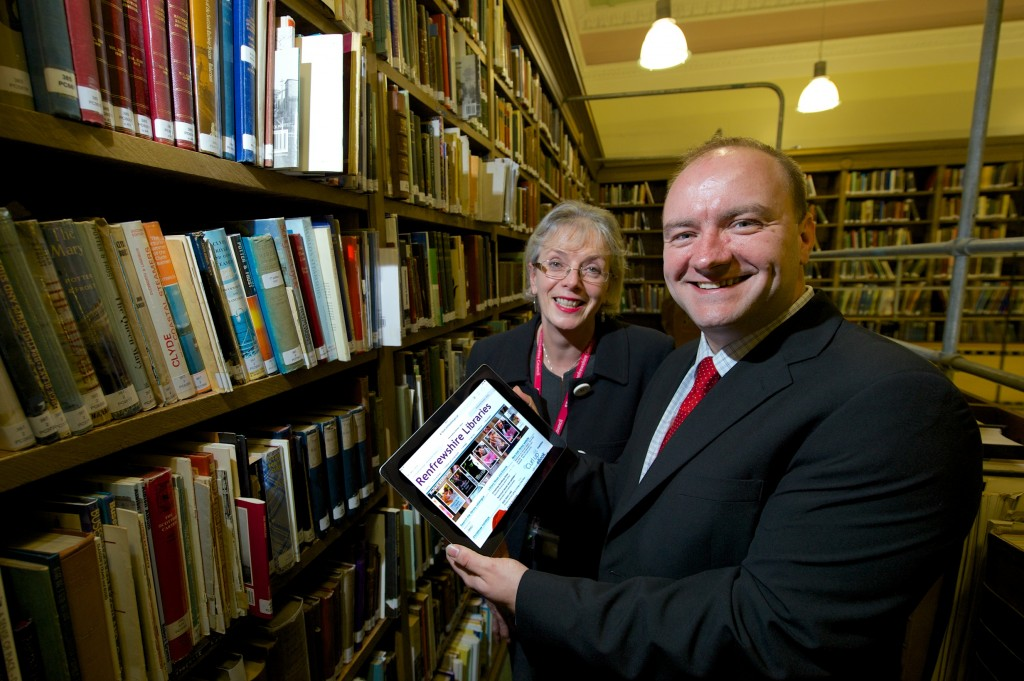 Cllr Stuart Clark with libraries manager Jenifer McFarlane