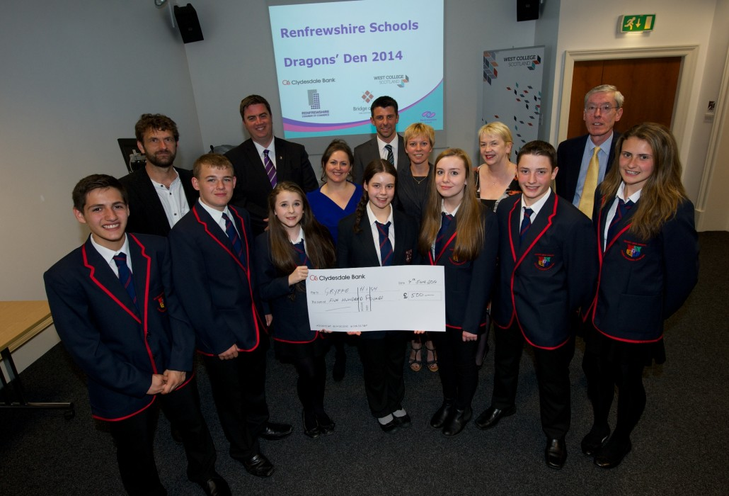 Winners Gryffe High with their cheque from the Dragons