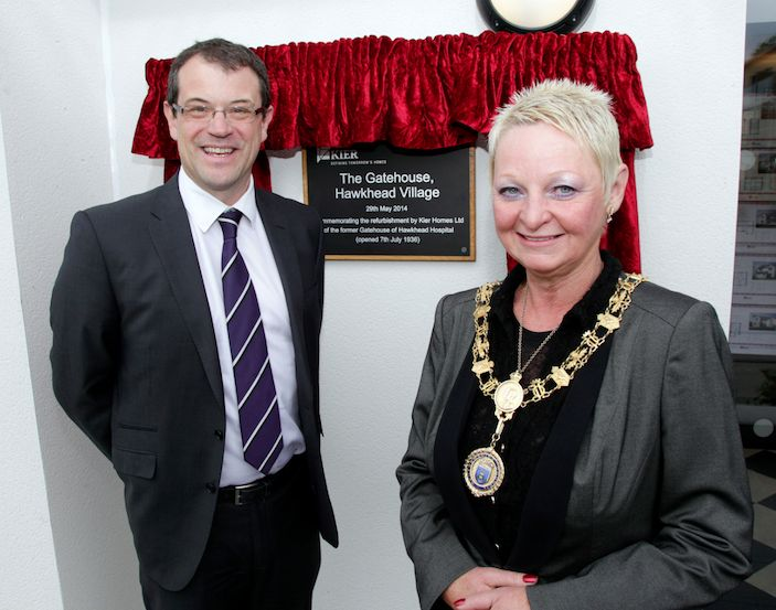 Nick Moore and Provost Anne Hall at the official opening of the refurbished Gatehouse 2