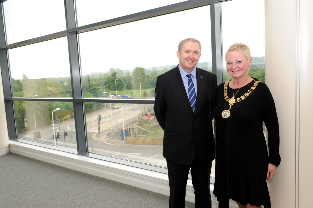 cllr harte and provost admire the view