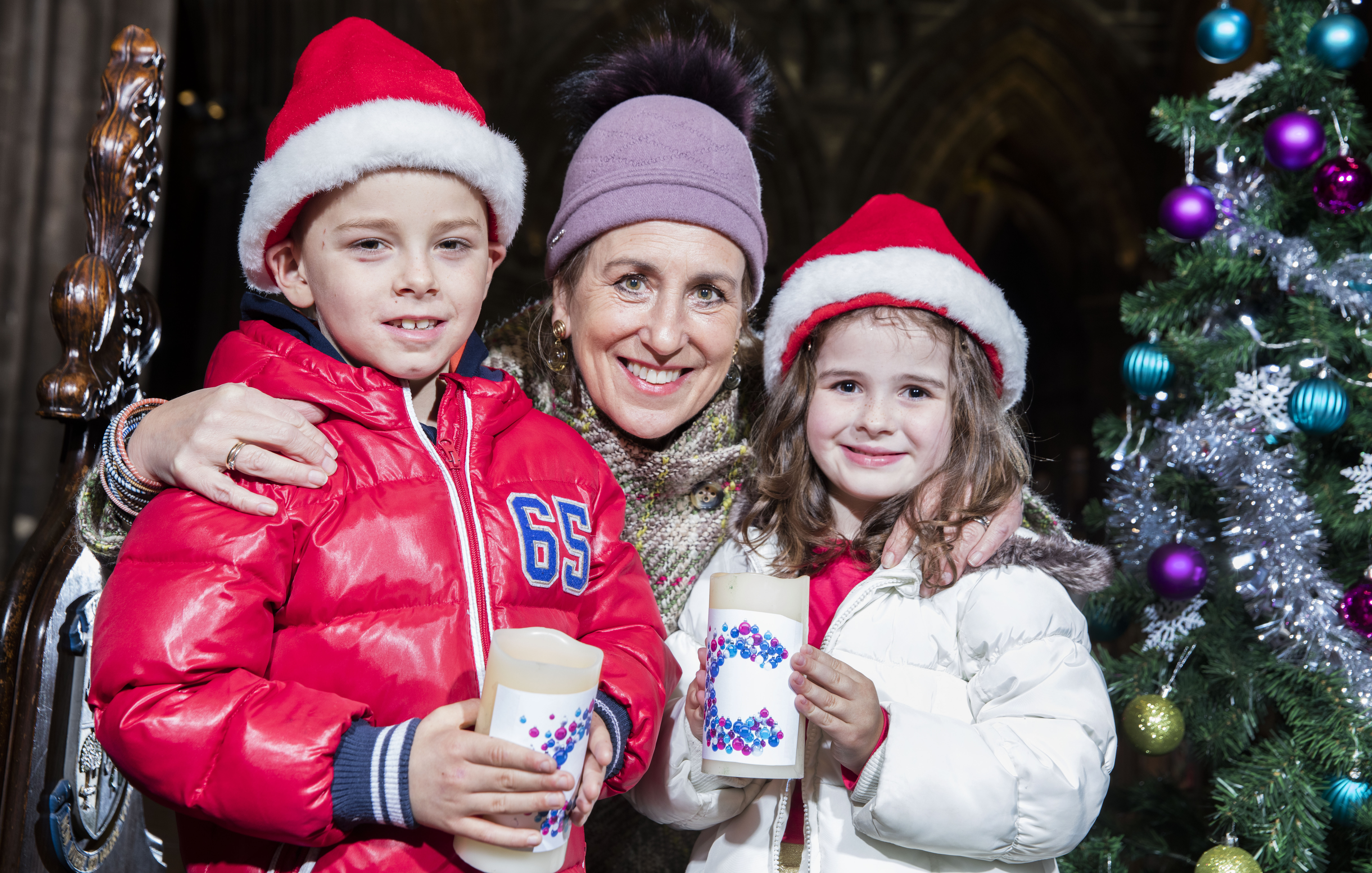 Left to right, Kai Green, seven, Kirsty Wark and Millie Scally, six, at Glasgow Cathedral