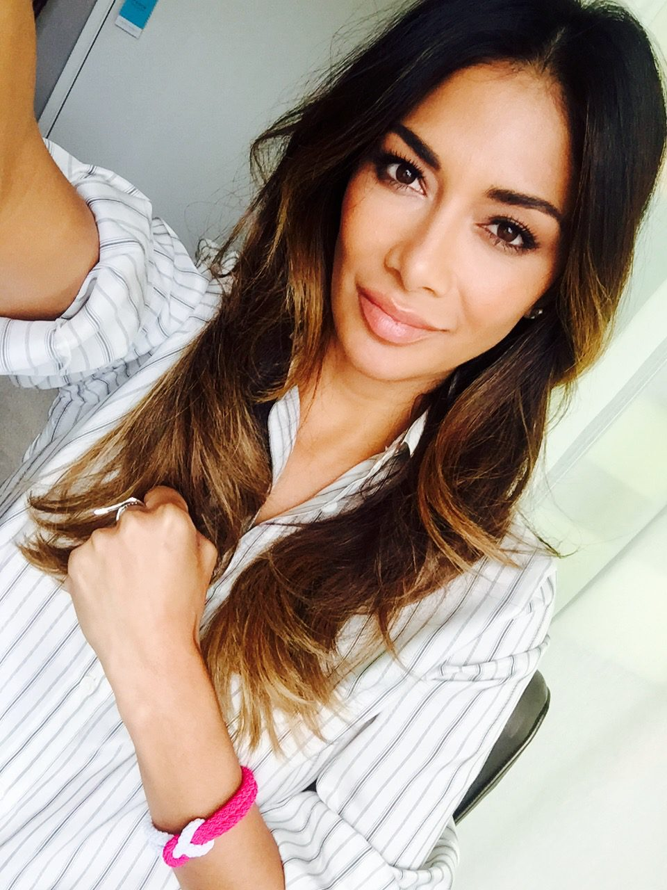 Nicole Scherzinger wearing a Unity Band for World Cancer Day