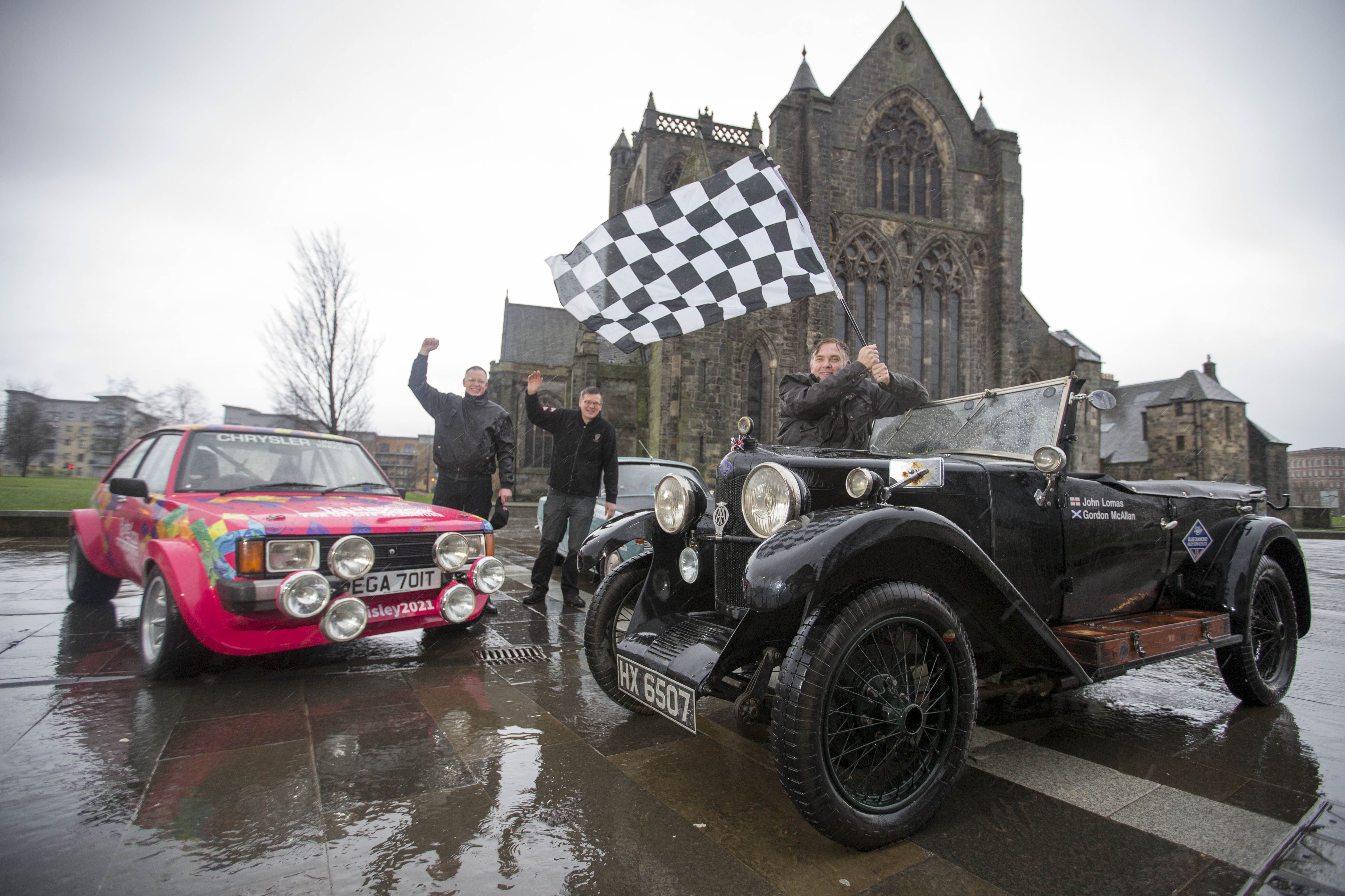 26/01/16...PAISLEY.Ready for the off, vintage cars all set for the annual Monte Carlo Rally which sets off from Paisley Town Centre on Wednesday... Competitors Jim Meggat, John Lomas and Ranald White