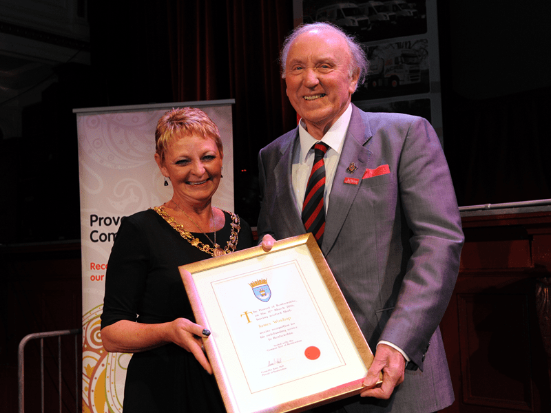 1-Renfrewshire Provost Anne Hall with Distinction Certificate recipient James Wardrop