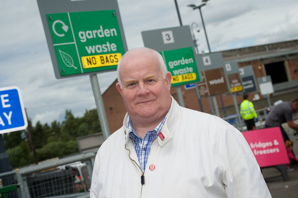 Councillor Eddie Devine, convener of Renfrewshire Council's Environment Policy Board, at the Renfrewshire Recycling Centre, Underwood Road, Paisley