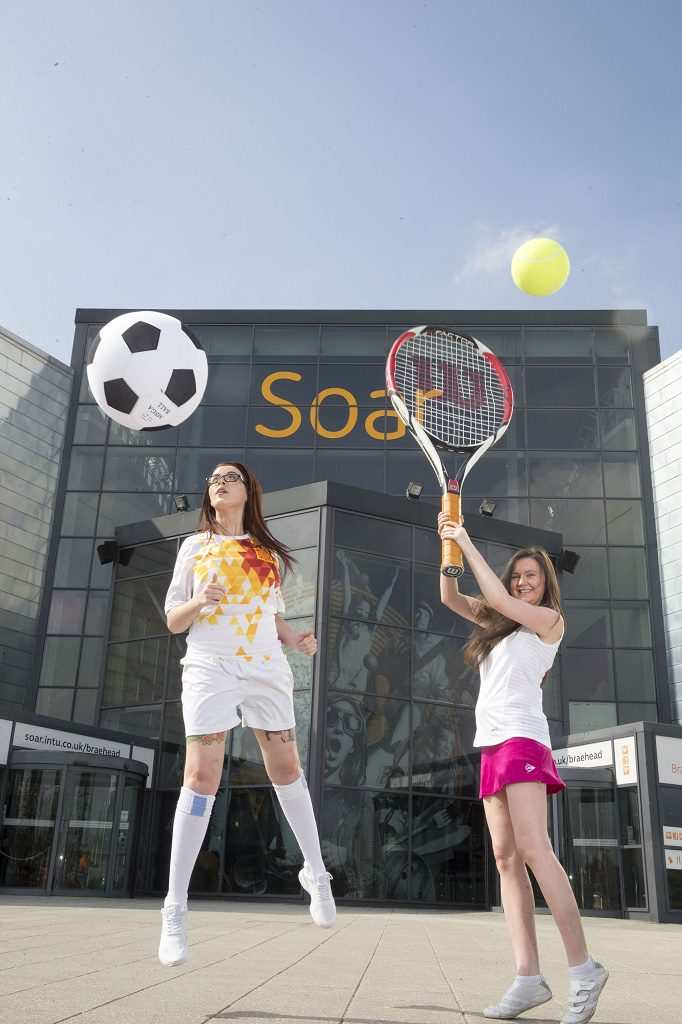 Madison Dock and Claire O'Neill from Soar at intu Braehead practise for a big summer of sport at the leisure destination