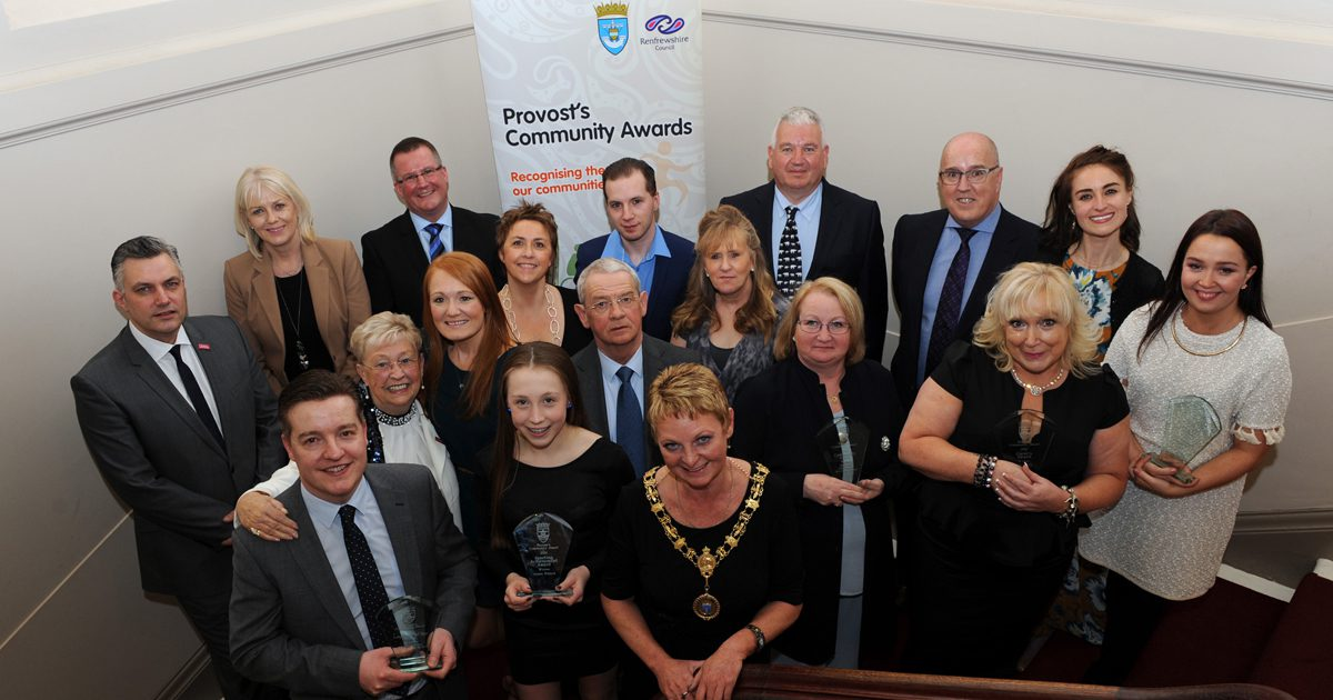 2016 Community Award winners with award sponsors and Renfrewshire's Provost Anne Hall