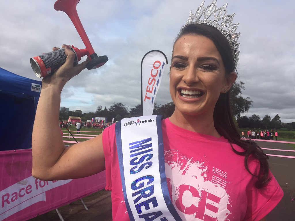 Miss Great Britain at Race for Life Pretty Muddy Glasgow