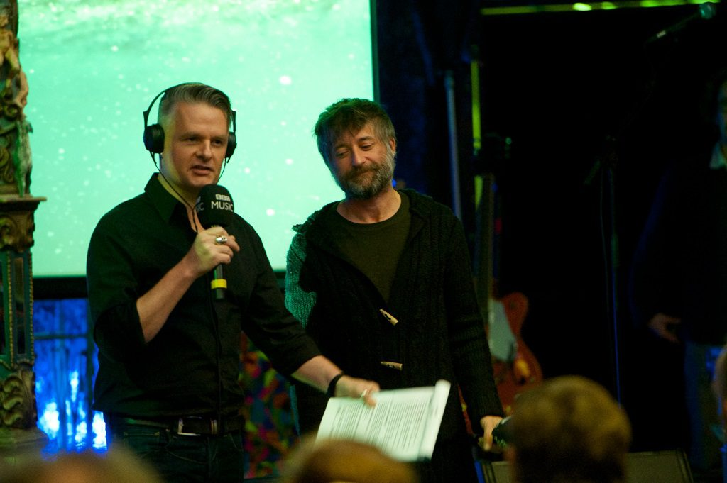 Vic Galloway interviewing fellow Fifer King Creosote live for the BBC in the Spiegeltent