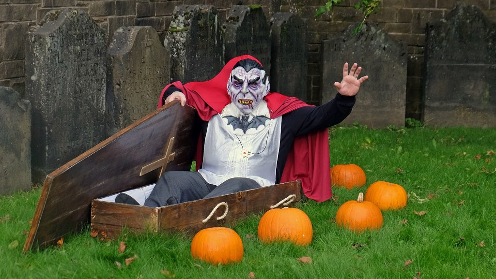 Dracula gets ready to welcome visitors to the Paisley Arts Centre Halloween Graveyard Tour