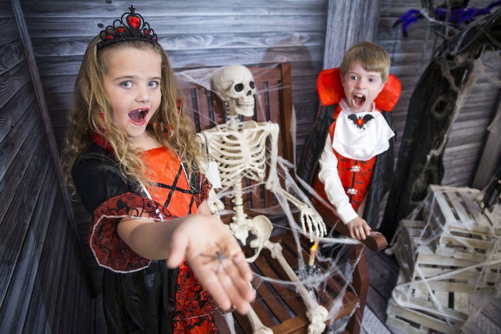 The seven-year-old Heads of Fun at intu Braehead, Lucie Roy, from Erskine and Aidan Smith, from Houston, Renfrewshire get in some practice for Halloween trick or treating