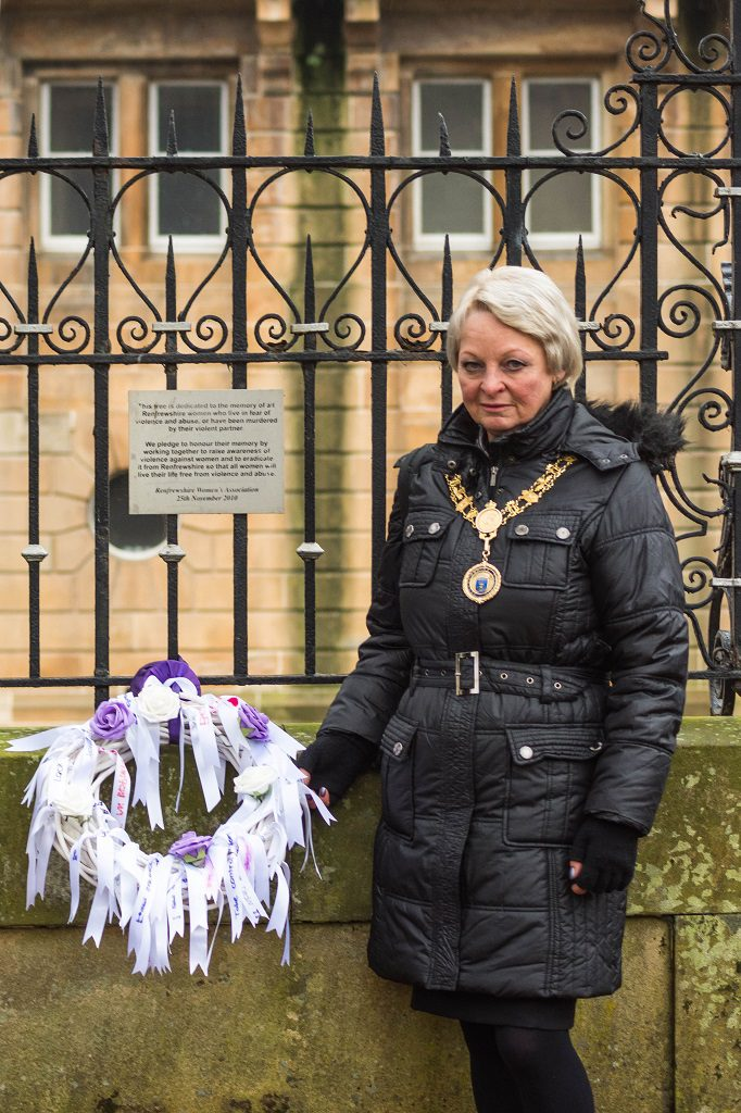 Renfrewshire's Provost Anne Hall with a remembrance wreath