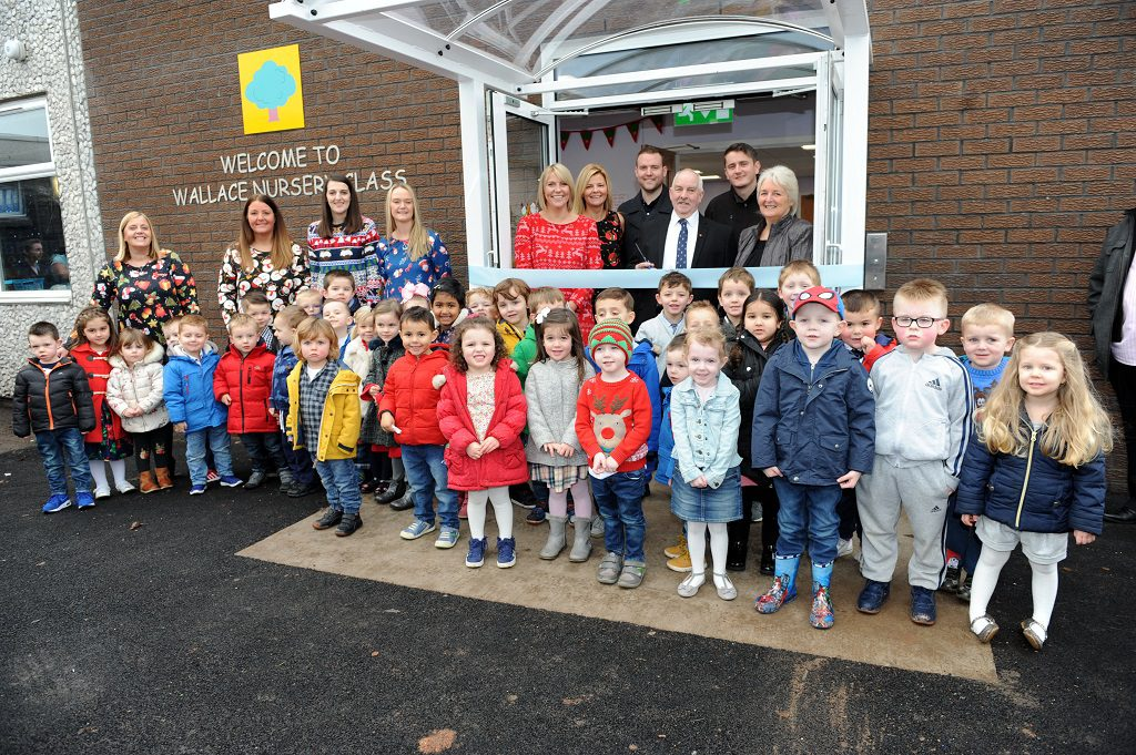 Renfrewshire's Depute Provost John Caldwell pictured with Wallace Primary School head teacher, Susan Carlton, opens new nursery class