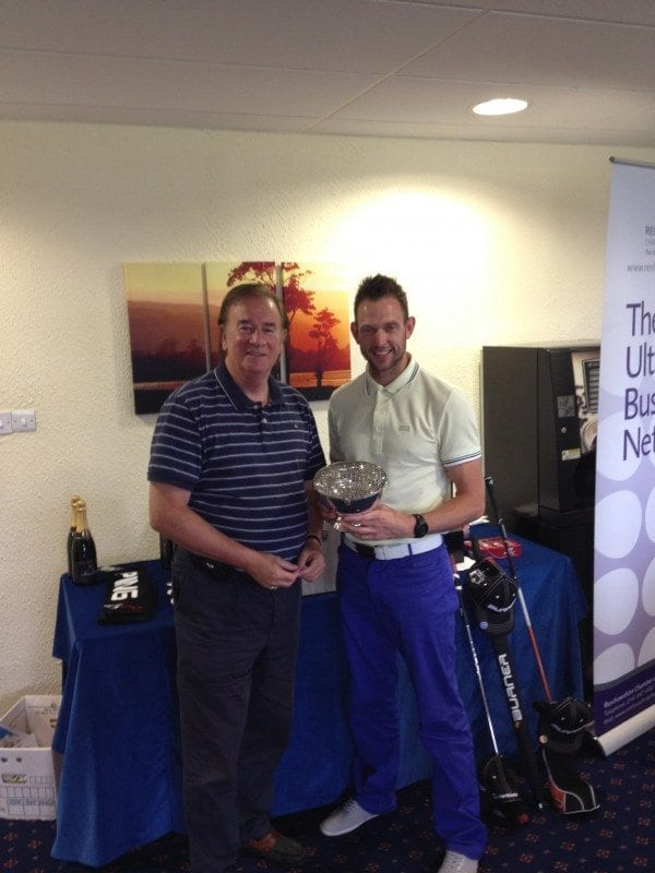 Chamber President Tom Johnston with individual winner Paul Robinson from Diageo