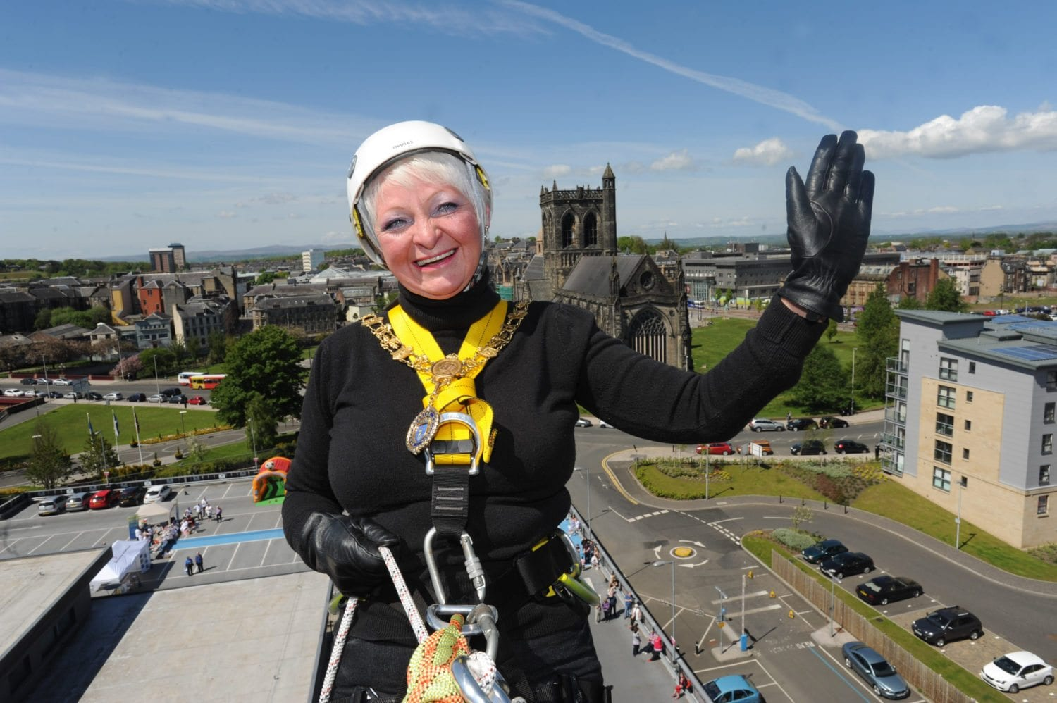 Provost Hall starting her abseil