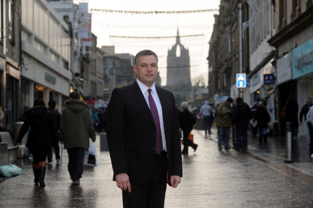 Councillor Mark Macmillan on Paisley High Street