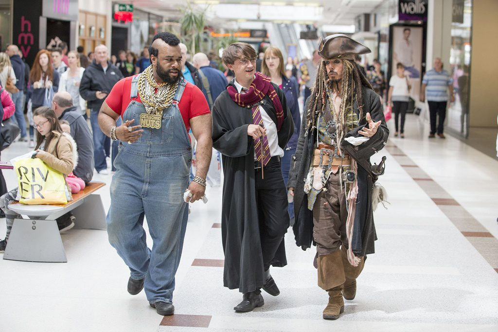 Summer activities. Chippendoubles arrive at Intu Breahead surprise shoppers. Mr T, Harry Potter and Jack Sparrow