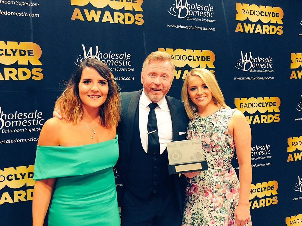 Winners - General manager at intu Braehead Gary Turnbull with marketing manager, Christine Macdonald, left and Braehead Arena operations manager, Lauren Little