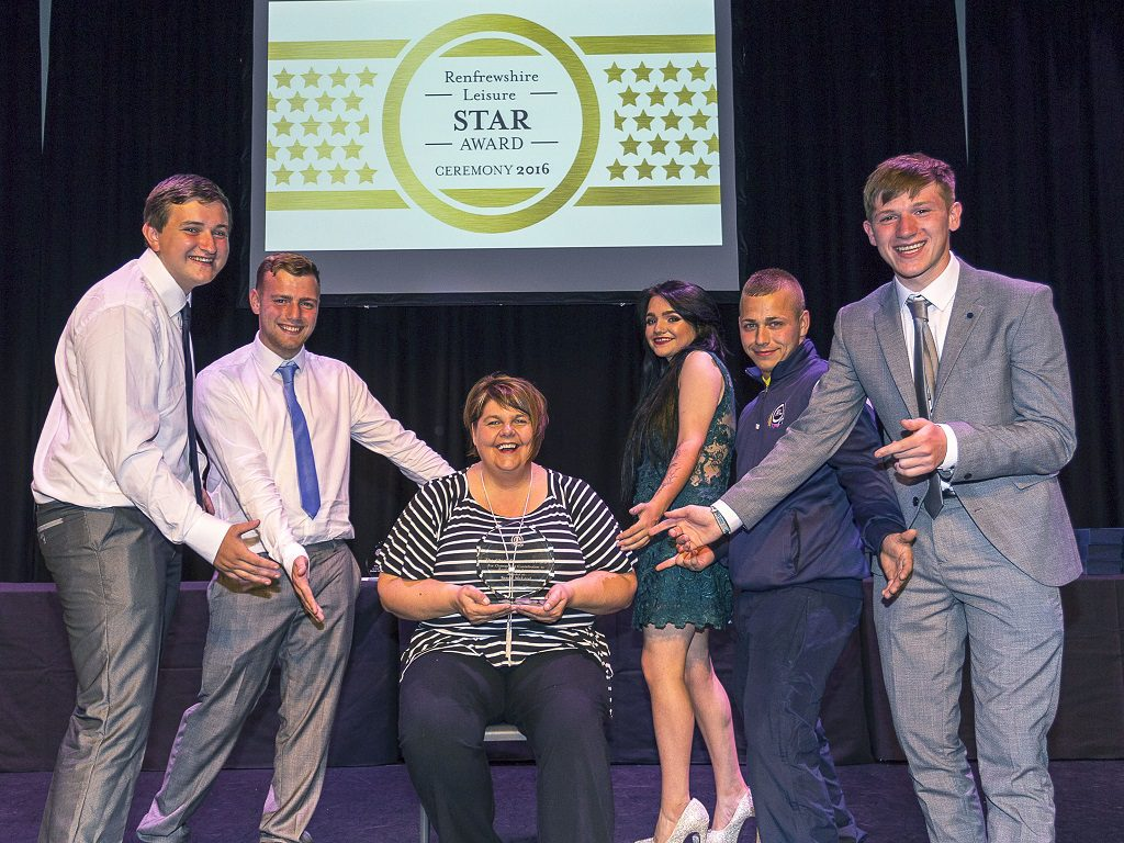 Senga McLeod is a second mum to these trainees, from left, Gary Young, Andrew Kelly, Rebecca Dunwoodie, Daniel McLauchlan and William Murray