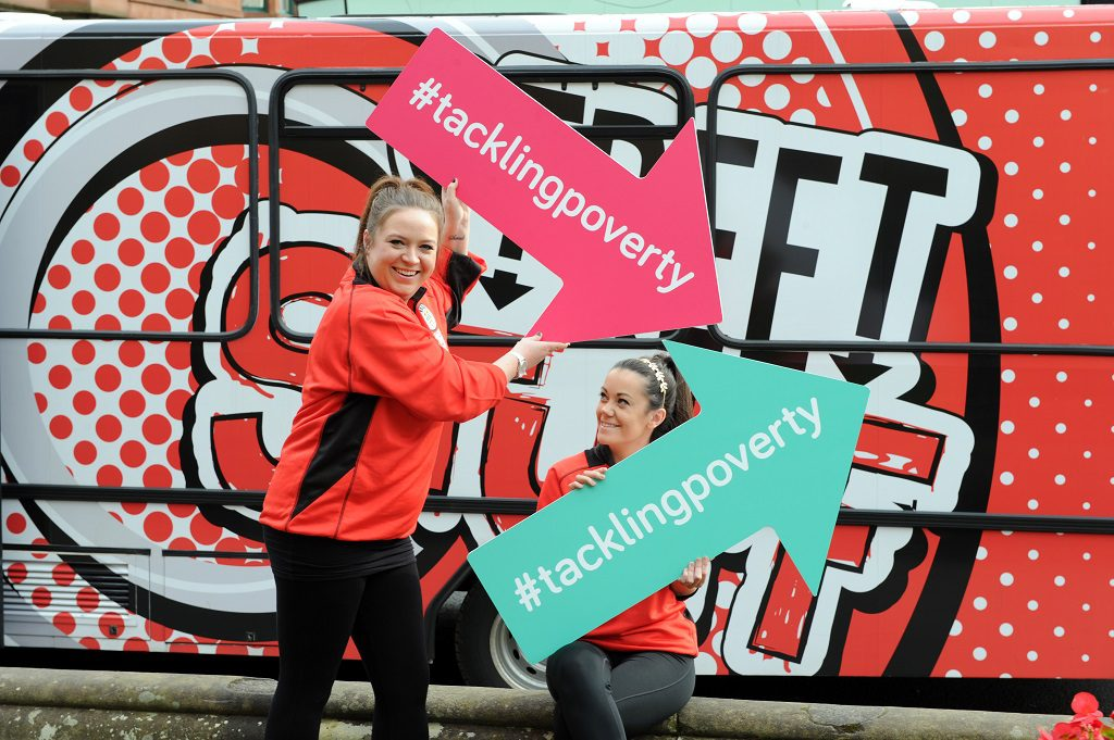 two of the Street Stuff coaches outside Renfrewshire's culture bus - Sarah Beattie and Emma Phelan