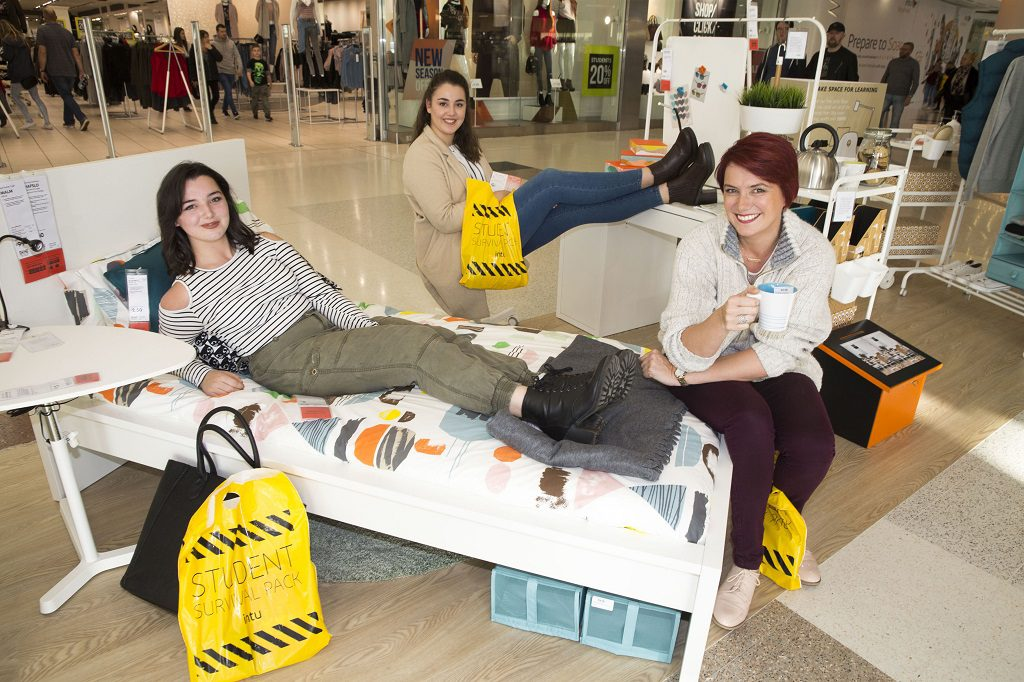 A room full of IKEA furniture was up for grabs in a prize draw and this trio of students tried it out for size. From left is Eleanor Kelly, from Glasgow Caledonian University; Gwyn Kelly, from West of Scotland College and Karen Kelly, from University of the West of Scotland