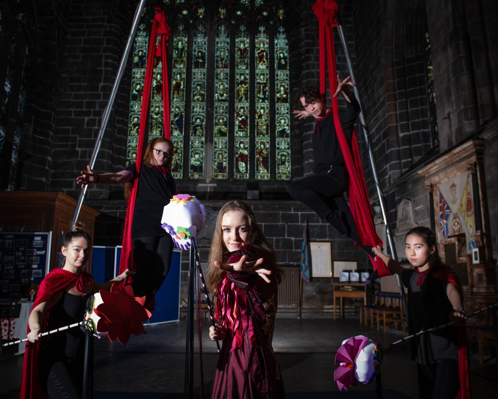 Young aerial performers from this year's Halloween Festival
