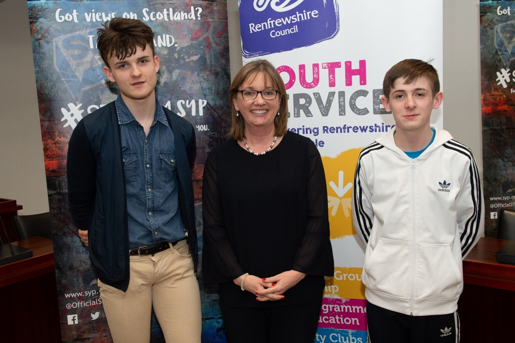 Lewis Givan and Gary Murdoch with Returning Officer Sandra Black