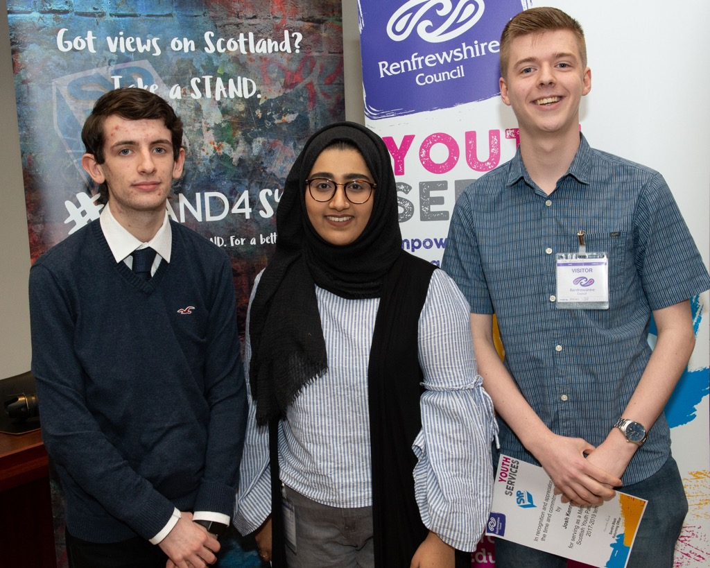 Outgoing MSYPs - Maria Alam, Josh Kennedy and Stirling McGee