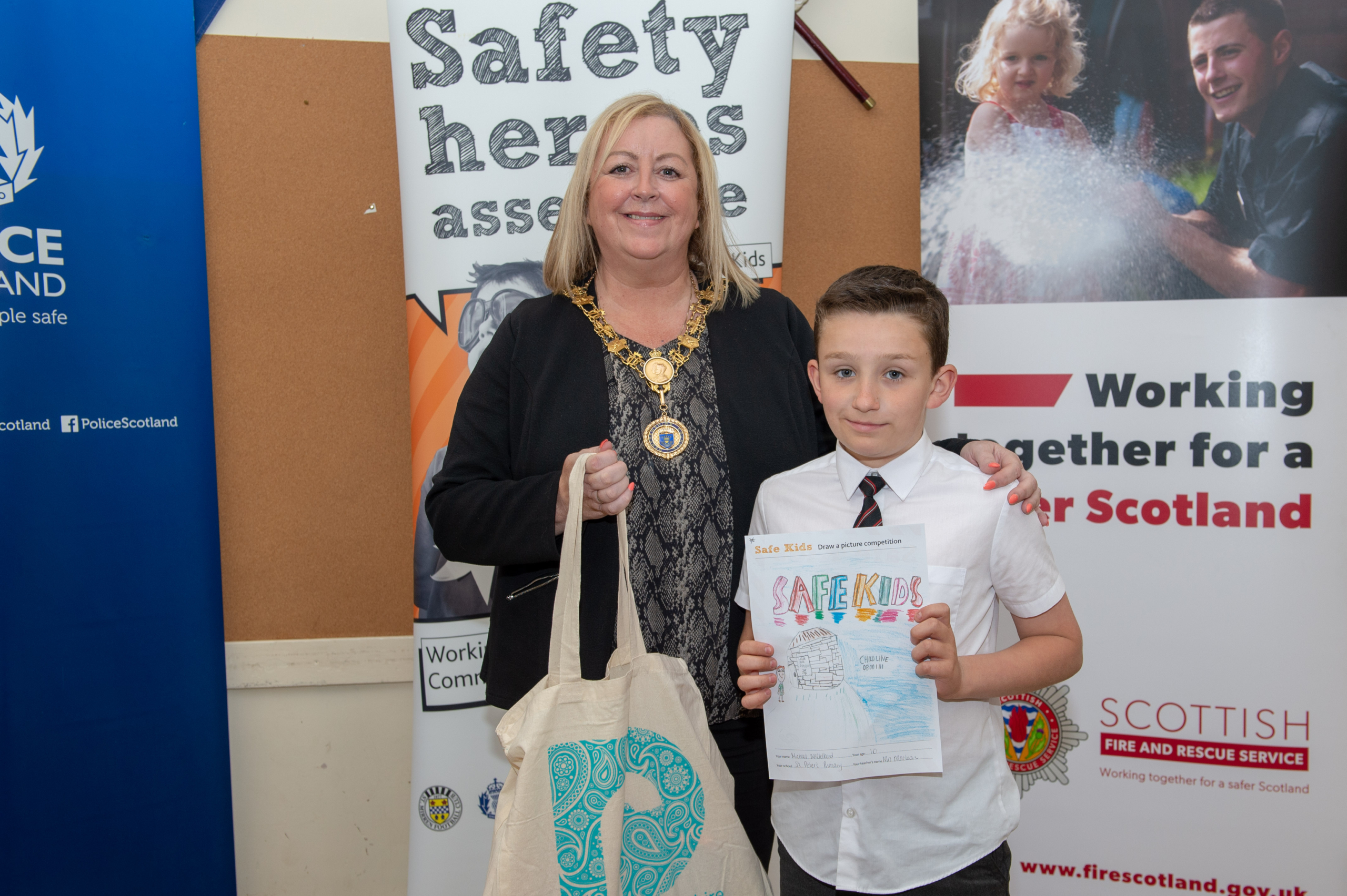 Renfrewshire's Provost Lorraine Cameron with Michael McClelland, St Peter's Primary