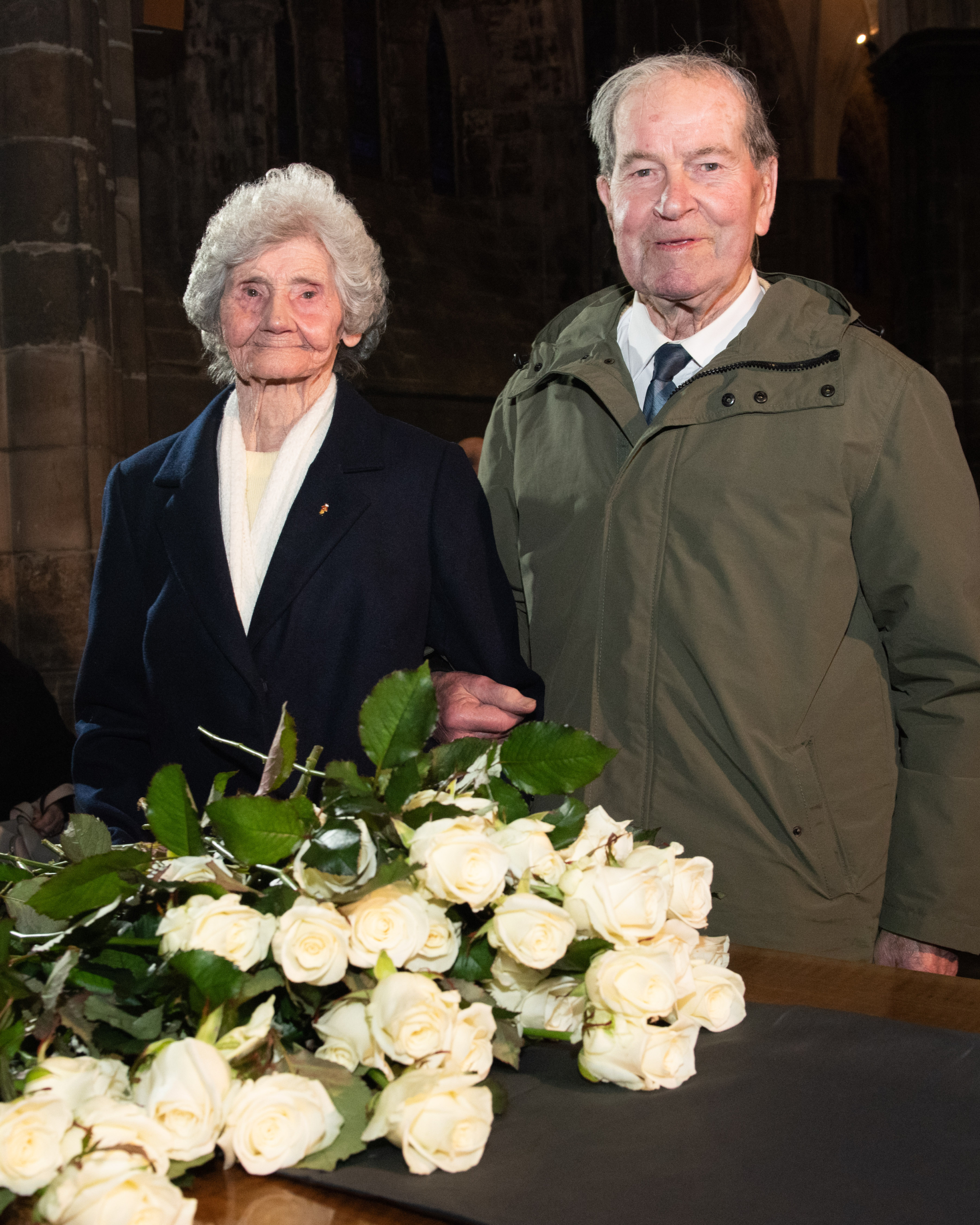 Survivors Robert Pope and Emily Brown at 90th anniversary service 7 Dec