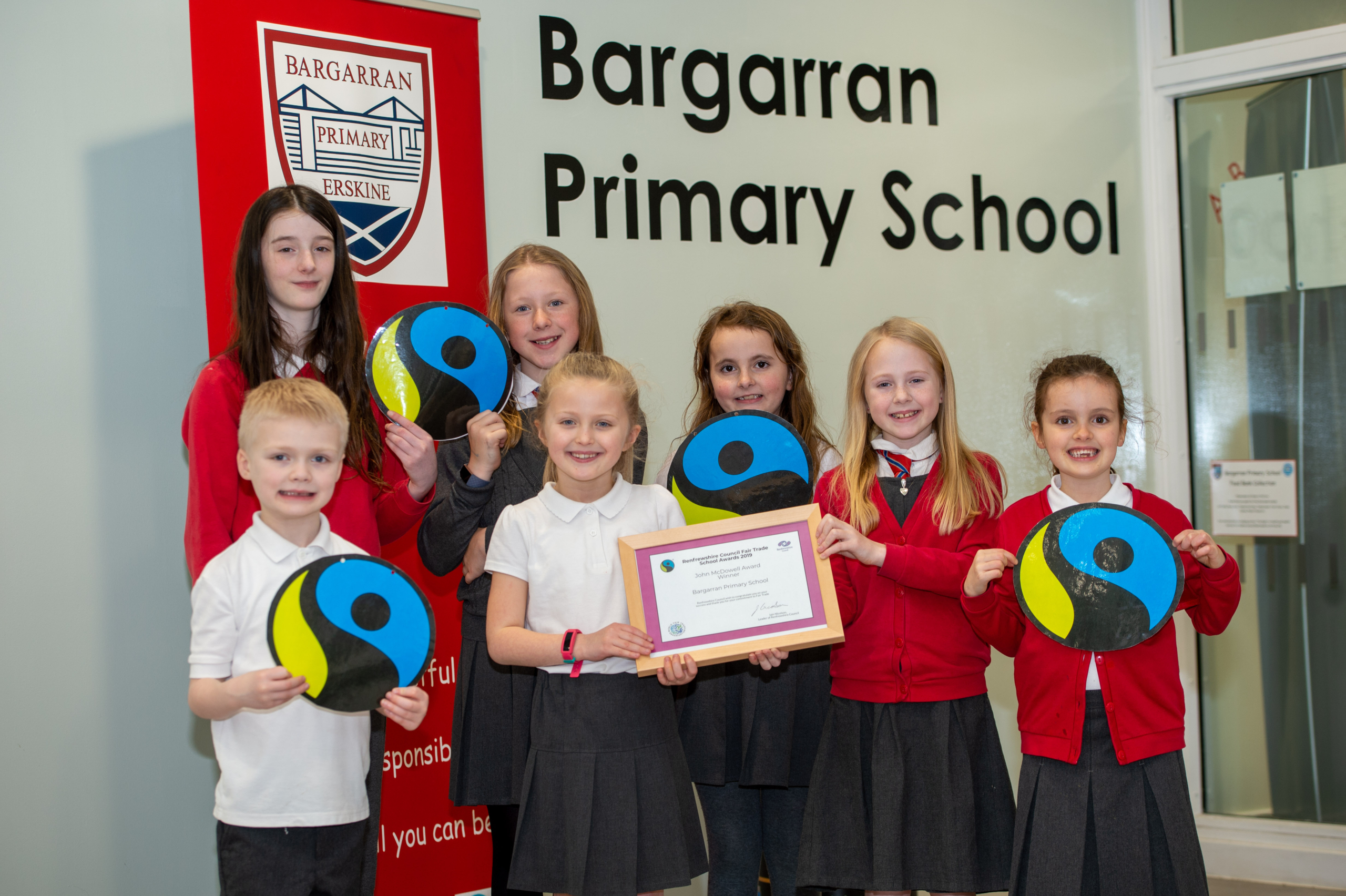 2. Bargarran Primary pupils with their award