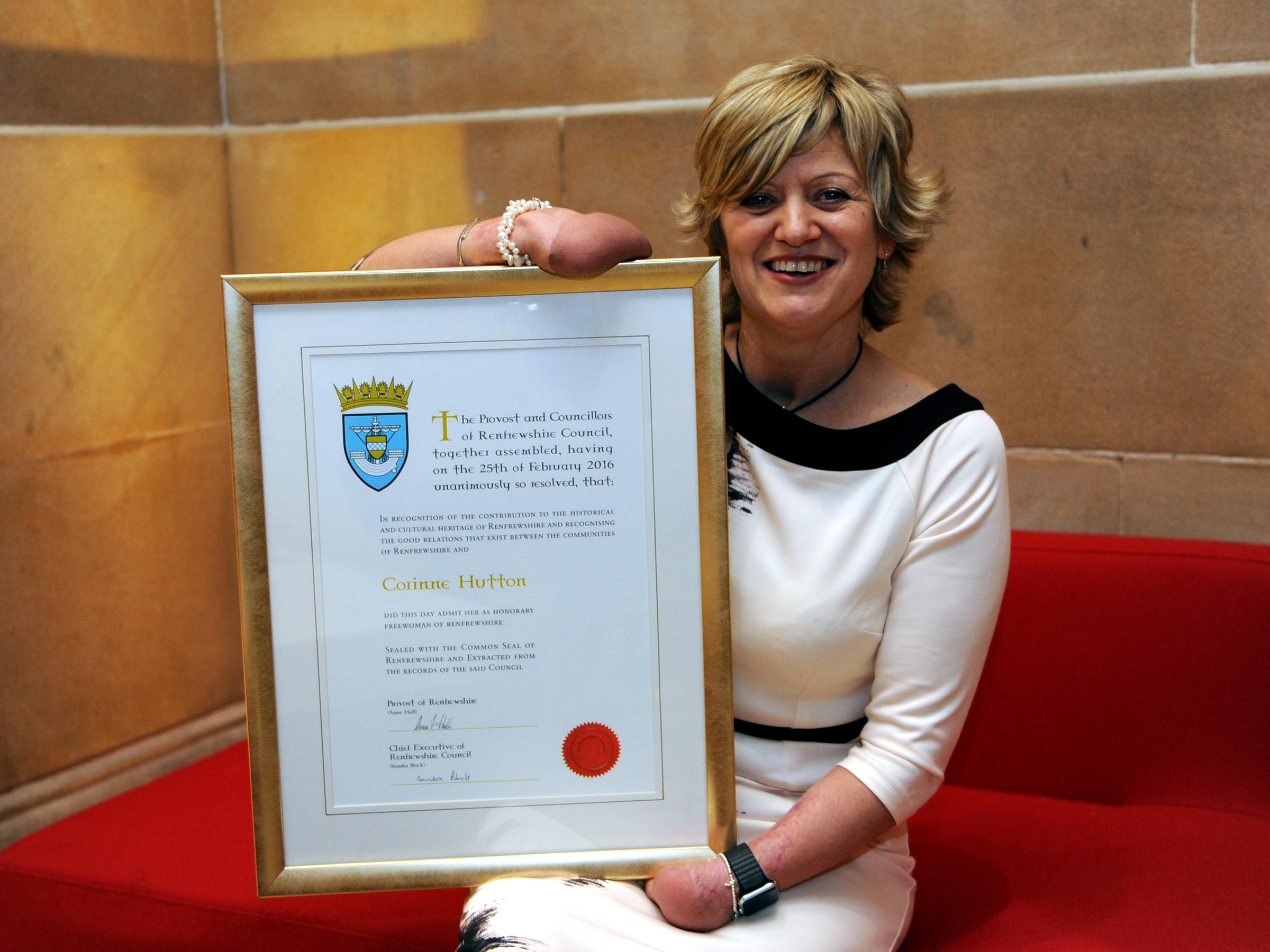 1- Freedom of Renfrewshire recipient Corinne Hutton
