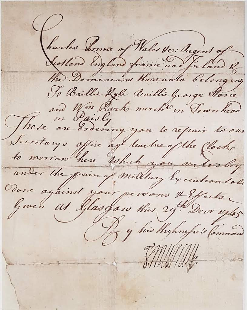 Jacobite Summons to Paisley Town Magistrates (1745 Rebellion)