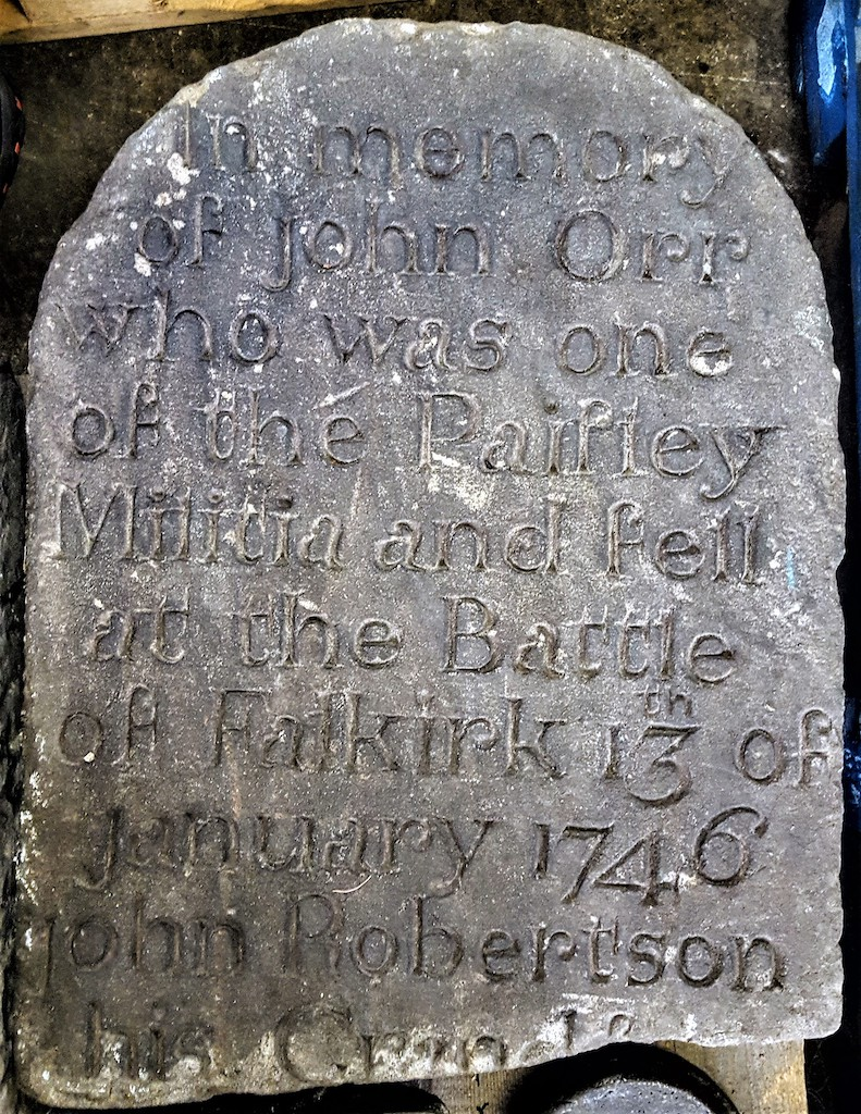 Memorial Headstone to John Orr Paisley Militia 1746