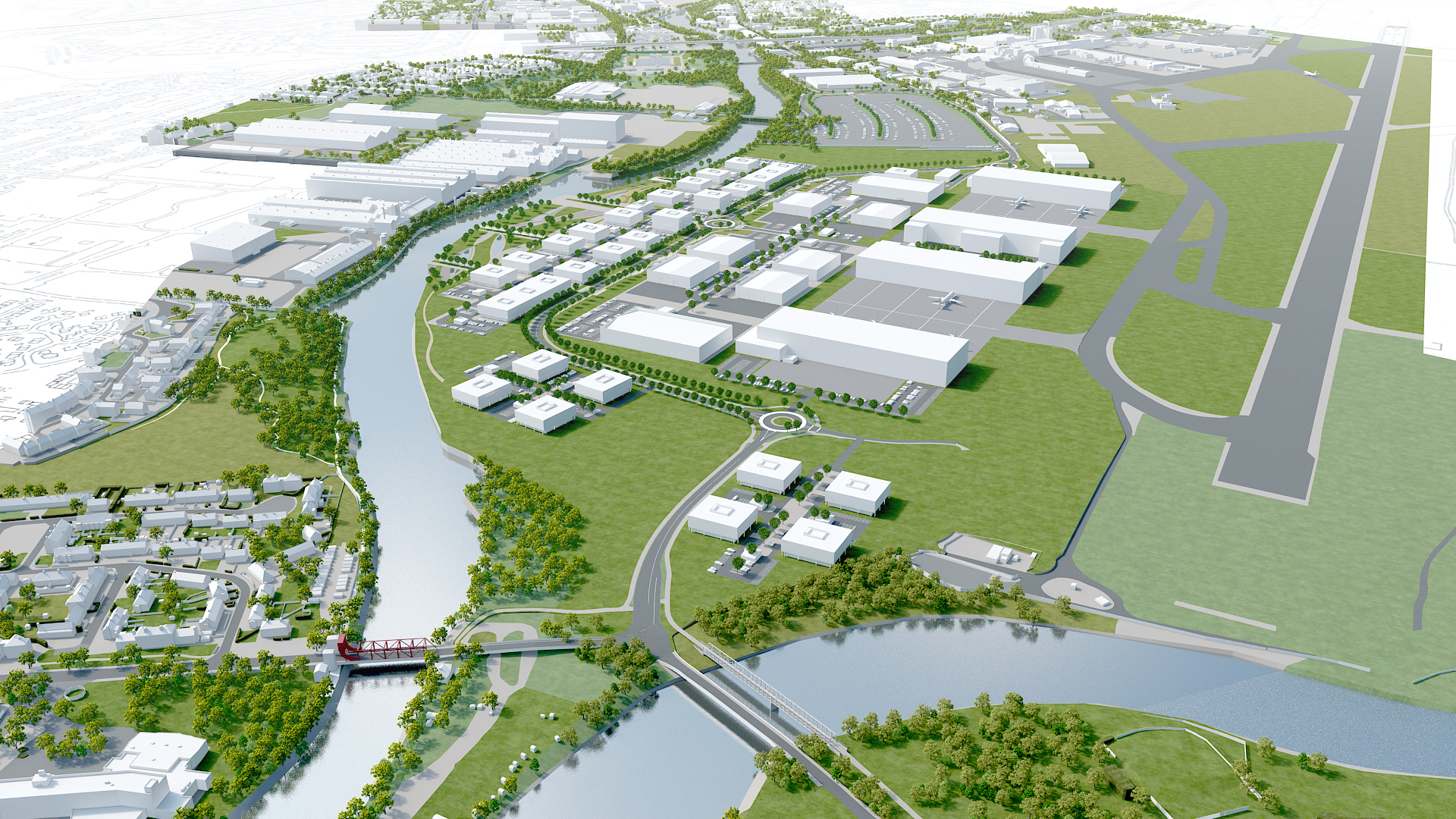 Artist impression aerial view of the Advanced Manufacturing Innovation District Scotland