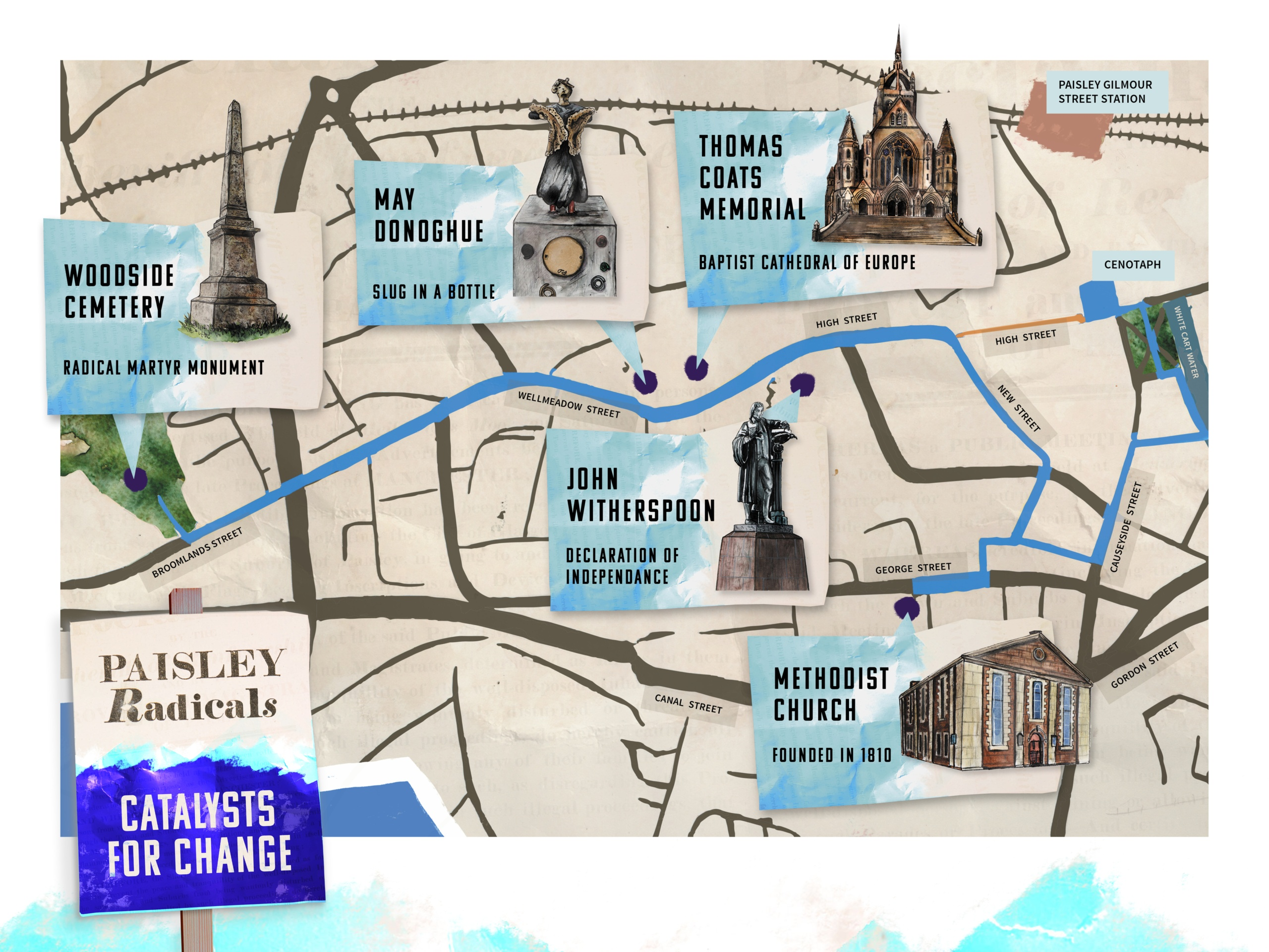 Paisley Radicals Catalysts for Change Map - Illustrated by Josef McFadden